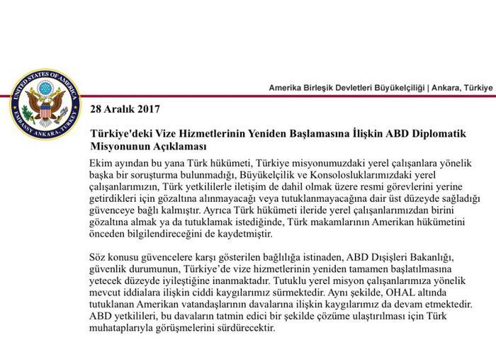 ABD Le Trkiye Arasndaki Vize Krizi Zld